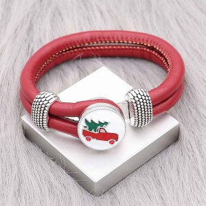 Red Leather Snap Armbänder KC0544 fit 20mm Snaps Chunks 1-Taste