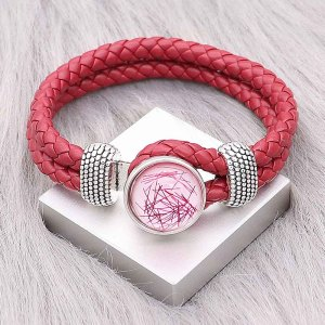 Red Leather Snap Armbänder KC0548 fit 20mm Snaps Chunks 1-Taste