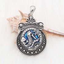 20MM Hippocampes et émail bleu mousqueton plaqué KC6622 s'enclenche bijoux