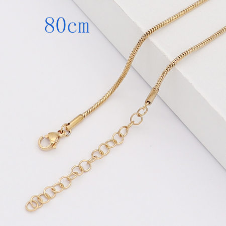 80CM high quality Stainless steel Snake Gold Chain necklace