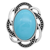 20MM design snap sliver Plated with blue resin KC6632 cyan