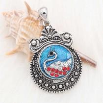 20MM Swan avec strass et émail bleu snap sliver Plaqué KC6627 snaps bijoux