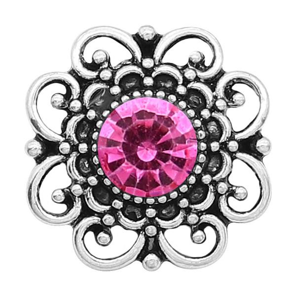 Astilla de flores 20MM plateada con diamantes de imitación de color rosa-rojo KC6639 broches de joyería