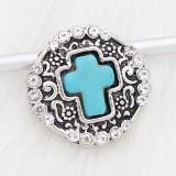 20MM snap cian Stone of Cross astilla plateada con diamantes de imitación KC6685 broches de joyería