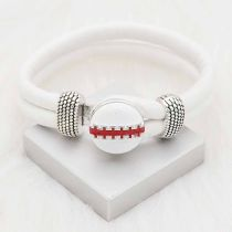 20MM Football snap sliver Plated with red enamel KC6660 snaps jewelry