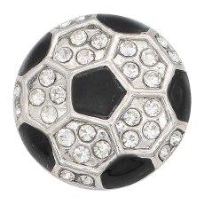 20MM Fußball mit Emaille-Splitter Mit Strasssteinen plattiert KC6665 schnappt Schmuck schwarz