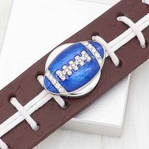 20MM Football with blue enamel  snap sliver Plated with rhinestones KC6670 snaps jewelry