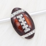 20MM Football with brown enamel  snap sliver Plated with rhinestones KC6669 snaps jewelry
