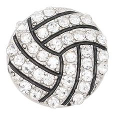 20MM Volleyball snap sliver Plated with white rhinestones KC6655 snaps jewelry