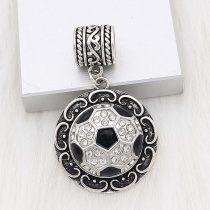 20MM Football with enamel snap sliver Plated with rhinestones KC6665 snaps jewelry black