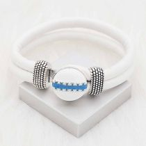 20MM Football snap sliver Plated with blue enamel KC6659 snaps jewelry