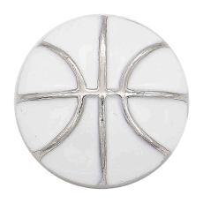 20MM Basketball with white enamel snap sliver Plated KC6673 snaps jewelry