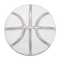 Basket-ball 20MM avec ruban à pression en émail blanc Plaqué KC6673 snaps bijoux