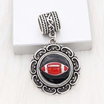 20MM Football snap sliver Plated with black enamel KC6654 red