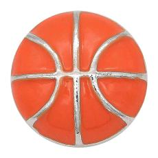 20MM Basketball with orange enamel snap sliver Plated KC6674 snaps jewelry