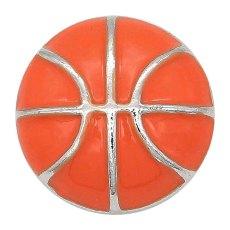 Baloncesto 20MM con astilla a presión de esmalte naranja Chapado KC6674 broches de joyería