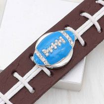 20MM Football with blue enamel  snap sliver Plated with rhinestones KC6668 snaps jewelry