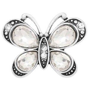 Astilla de mariposa 20MM chapada con diamantes de imitación blancos KC6651 broches de joyería