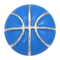 20MMバスケットボール、ブルーエナメルスナップスライバーメッキKC6671スナップジュエリー