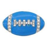 Football 20MM avec ruban pression émail bleu Plaqué avec strass Bijoux KC6668 pression