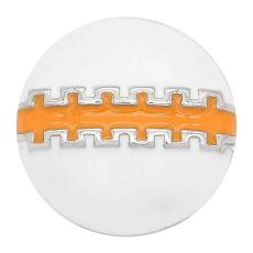 20MM Football snap sliver Plated with orange enamel KC6657 snaps jewelry