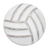 Volley-ball 20MM avec ruban mousqueton en émail blanc Plaqué KC6675 snaps bijoux