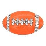 Football 20MM avec ruban mousqueton en émail orange Plaqué avec des strass KC6667 s'enclenche bijoux