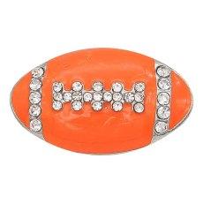 20MM Fußball mit orangem Emaille-Bändchen Mit Strasssteinen plattiert KC6667 Bändchenschmuck