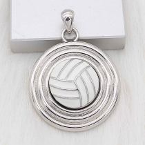 20MM Volleyball with white enamel snap sliver Plated KC6675 snaps jewelry