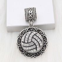 20MM Volleyball-Snap-Splitter Mit weißen Strasssteinen beschichtet. KC6655-Snaps-Schmuck