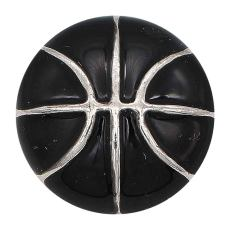 20MM Basketball with black enamel snap sliver Plated KC6672 snaps jewelry