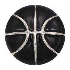 Basket-ball 20MM avec ruban à pression en émail noir Plaqué KC6672 snaps bijoux
