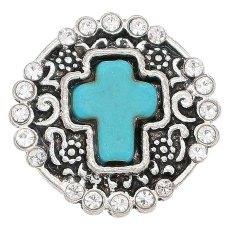 20MM snap cyan pierre de ruban argenté plaqué avec strass KC6685 snaps bijoux
