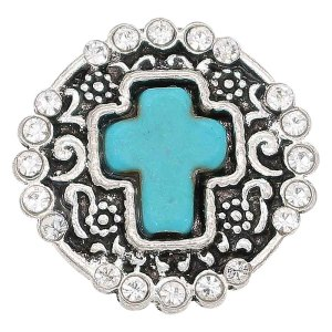 20MM snap cian Stone of Cross astilla plateada con diamantes de imitación KC6685 broches de joyería