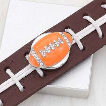 20MM Football with orange enamel  snap sliver Plated with rhinestones KC6667 snaps jewelry