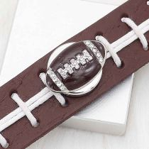 20MM Football with brown enamel  snap sliver Plated with rhinestones KC6666 snaps jewelry