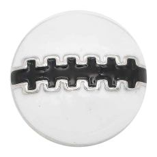 20MM Football snap sliver Plated with black enamel KC6658 snaps jewelry