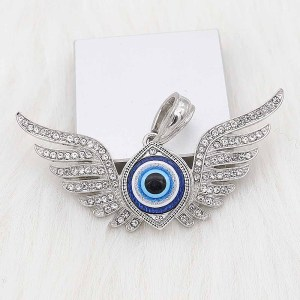 Astilla de ojo 20MM plateada con resina azul KC6653 broches de joyería