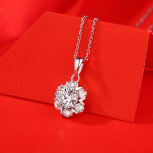 1 CT DEF 6.5mm VVS Romántico copo de nieve Collar colgante de plata esterlina Moissanite Platino chapado 45CM cadena