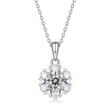 1 CT DEF 6.5mm VVS Romantic snowflake Moissanite Sterling Silver Pendant Necklace Platinum plating 45CM chain