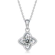 1 CT DEF 6.5mm VVS Moissanite Lucky Four-leaf Clover  Sterling Silver Pendant Necklace Platinum plating 45CM chain