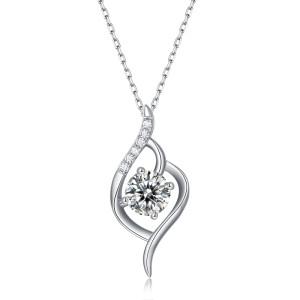 1 CT DEF VVS Moissanite Amor a primera vista Collar de plata esterlina Colgante de platino Cadena de 45 cm