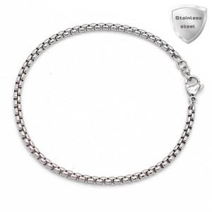 Bracelet à breloques extensible en acier inoxydable de 19 cm