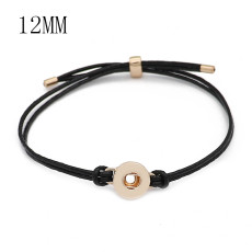 Black leather Snap bracelets KS1307-S fit 12mm snaps chunks 1 button