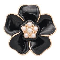 Позолоченный цветок 20 мм, покрытый чёрной эмалью, с подвесками KC8309