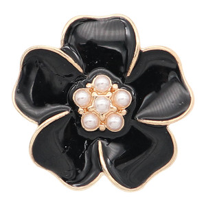 20MM Flower Snap vergoldet mit schwarzen Emaille Charms KC8309