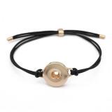 Bracelets Snap en cuir noir KC0564 fit 20 mm boutons pression morceaux 1 bouton
