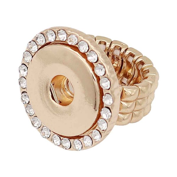 1 buttons snap gold Ring With white rhinestone fit snaps jewelry KC1326