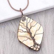 Concha natural Árbol de la vida Colgante de collar de bronce antiguo