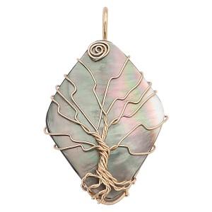 天然シェル生命の木ゴールドペンダントネックレス